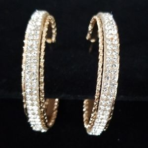 Vintage Rhinestone Goldtone Hoop Pierced Earrings
